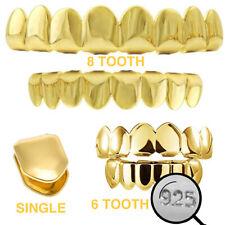 Real plata esterlina 925 Oro Acabado Grillz-Hip Hop Parrillas 6 8 o un solo dientes