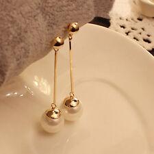 Fashion 8K Gold Filled Elegant Pearl Drop Pendant Long Dangle Stud Earrings New