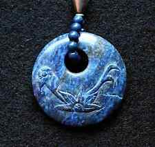 Excellent! Carved Blue LAPIS LAZULI Gemstone Pendant Necklace Set