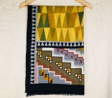 "Khaadi~Colorful Woven Wool 72"" X 27"" Aztec Native American Bohemian Scarf Stole"