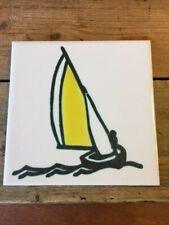 Vintage 1960's Ann Wynn Reeves Ceramic Tile Kenneth Clark – Yellow Yacht 1–