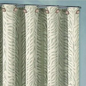 Duck River Textiles Marty Zebra Jacquard Fabric Shower Curtain White