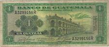 1963 1 UN QUETZAL GUATEMALA CURRENCY BANKNOTE NOTE MONEY BANK BILL CASH ONE NICE