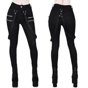 UK Women Gothic Steam Punk Pants High Waist Casual Skinny Leggings Trousers