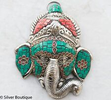 Ganesha Wall Hanging Studded Turquoise Corals White Metal Handmade Exclusive