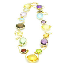 18ct Oro AMARILLO TENDENCIA Tamaño Multi Coloreadas Piedra Preciosa collar