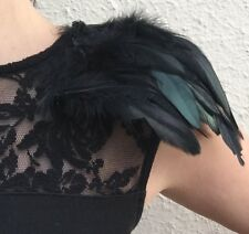 Party Feather Shoulder Pads with clips, black feather epaulettes