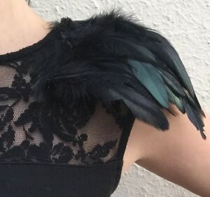 Christmas Party Feather Shoulder Pads with clips, black feather epaulettes