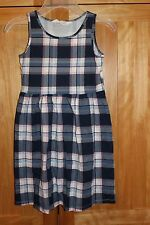 GIRL NAVY BLUE WHITE AND PINK CHECKERED PLAID DRESS EUC 8