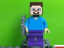 LEGO STEVE Minifigure Minecraft 21113 21114 21116 NEW Authentic Silver Pickaxe