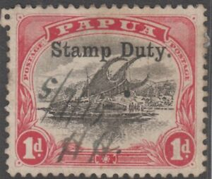Stamp Papua 1d red & black Lakatoi STAMP DUTY overprint Barefoot catalogue 2a