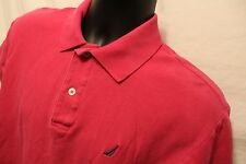 Men's Nautica sz Medium Pink Polo Rugby S/S 100% Cotton
