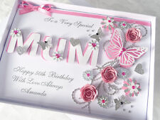 Personalised Handmade Mothers Day/Mum Birthday Card 40 th 50 th 60th with BOX