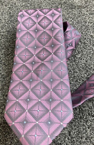 """Mens Michelsons pink grey geometric mix smart polyester tie 2.75"""" wide 59"""" long"""