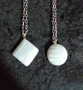 """ONYX STYLE STONE PENDANT NECKLACE ON SILVER TONE 22"""" NECKLACE / CHAIN NEW"""