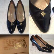 SALVATORE FERRAGAMO Black Leather Heels Point-Toe 7.5-AA Narrow