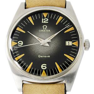 Omega 1966s Geneve Date Shaded Grey & Black Men's Vintage Wrist Watch 136.041