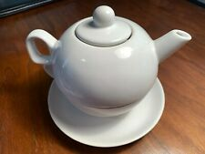White Lillian Vernon teapot.  Tea for one with Saucer. Made in Taiwan