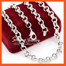 9K 9CT PLAIN WHITE GOLD GF BELCHER RING LINK CHAIN SOLID WOMENS GIRLS NECKLACE