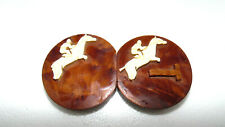 Nice ANTIQUE Carved Equestrian Horse Jumping Belt Buckle Rare~Wood~bx56/3