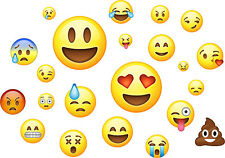 Emoji pack de 22 Pegatinas de Pared Arte Emoticon emojis caras Dormitorio murales Calcomanías