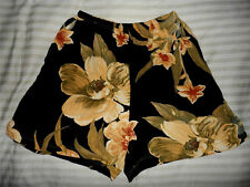 Carole Little Sport Casual Shorts Floral Multi Beige Black Elastic/W PS Rayon