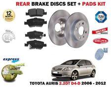 Para Toyota Auris 2.0 Dt D4D 2006-12/2012 Juego Freno Disco Trasero + Pastillas