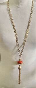 CHICO'S MATTE GOLD TONE HAMMERED LOOK CHAIN NECKLACE LUCITE PEBBLE STONES TASSEL