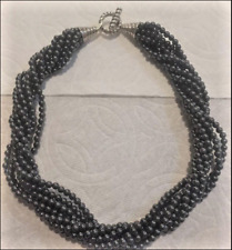 Tiffany & Co. Hematite Torsade Necklace Sterling Silver Toggle Clasp 4mm Beads