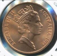 Australia, 1986 One Cent, 1c, Elizabeth II - Gem Uncirculated