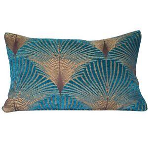 Art Deco Cushion. Luxury Velvet Chenille. Gold and Teal Vintage Fan Design.