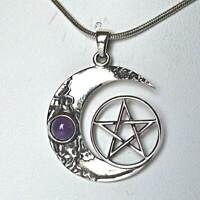 Amethyst Sterling Silver Pentagram Crescent Moon Pendant Wicca Witch Reiki Pagan