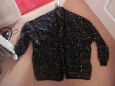 BNWT ladies soft fluffy black & silver tinsel batwing cardigan size S-M 12-14?