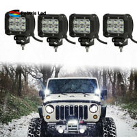 4X 4inch 18W Square Flood LED Work Light Fog Lamp Offroad Driving SUV UTE 4WD