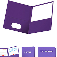 Oxford Twin Pocket Folders Textured Paper Letter Size Purple Holds 100 Sh