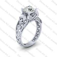 Simulated Diamond Gothic Spooky Skull Engagement Ring Womens 925 Sterling Silver