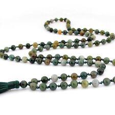 6mmKnotGreen Agate Gem Tibet Buddhist Prayer Beads Mala Necklace108 JN402