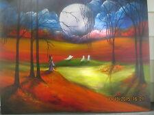 Folk Art Halloween Haunted Moon Ghosts Fall Autumn Painting by Lizzy Rainey