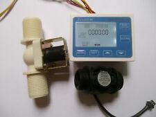 """G1"""" Water Flow Control LCD Meter + Flow Sensor + Solenoid valve NEW"""