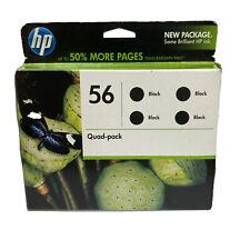 Genuine HP 56 Quad 4 Pack Black Ink Cartridges Unopened Expired