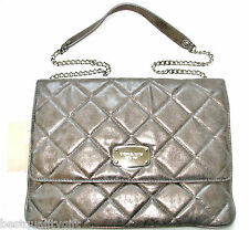 NEW-MICHAEL KORS HAMILTON QUILT NICKEL LEATHER+SILVER CLUTCH, SHOULDER/HAND BAG