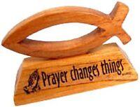 Prayer Changes Things wooden Christian ichthus fish desktop gift ornament