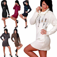 Strickkleid Pulli Silber Faden Longpulli Carmen Longpullover Pullover Mini Kleid