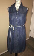 Liz Lange Maternity Sleeveless Jean Denim Blue Dress With Belt Size XS New