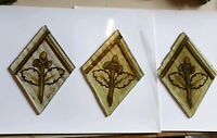 3 x Old small victorian hand painted pieces of glass spares/repairs