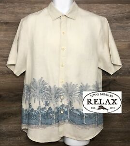 Tommy Bahama Relax Men's 100% Linen Cream Palm Tree Print Short Sleeve Shirt M