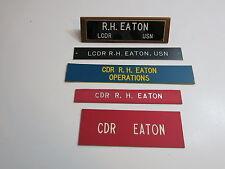 5 VINTAGE NAME PLAQUES (DESK WALL DOOR) FROM US NAVY COMMANDER ROBERT H EATON
