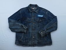 RARE Vtg Lee Mens Video Trade Jean Jacket Size Large Blue Grunge Acid Wash 90s