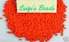 11/0 Round Toho Glass Seed Beads #50F- Opaque-Frosted Sunset Orange 10 grams
