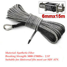 15m×8mm Nylon Synthetic Winch Line Cable Rope fits most car  Gray 5000-5700lbs